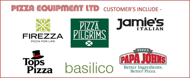 Pizza Equipment LTD customers include pizza hut, perfect pizza, chicken cottage, honest burgers, pepe's peri peri, firezza